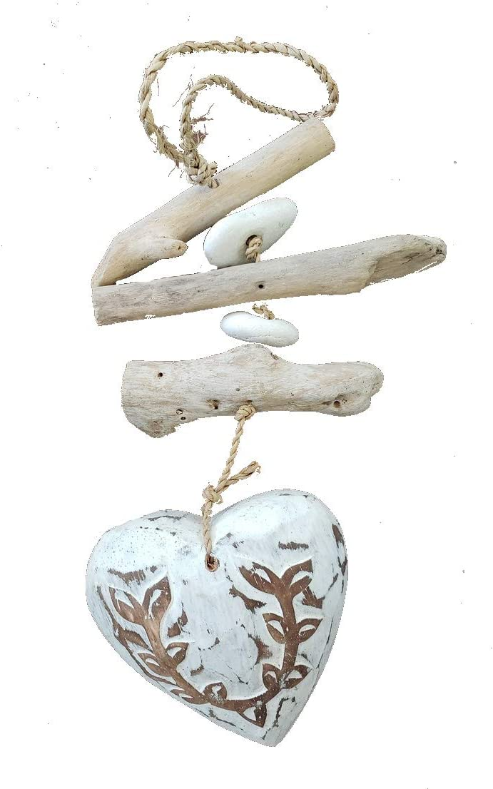 Hanging Driftwood Beach Decor with Rustic White Heart, 14 Inches Long