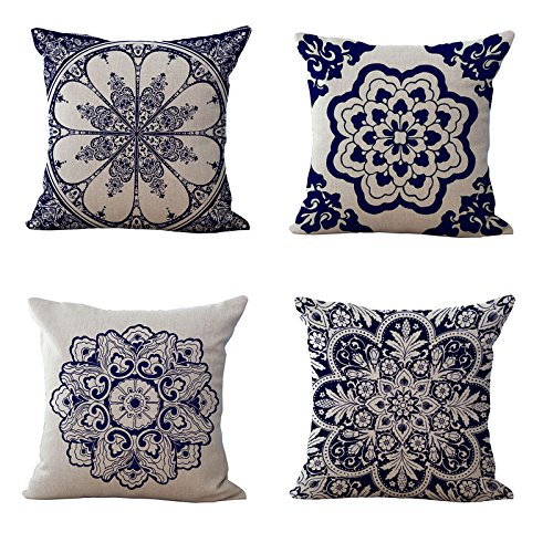 Ammmybeddings Retro Floral Square Pillowcase Cushion Cover Mandala Compass Medallion Bohemian Boho Style Decorative Throw Pillow Covers Set of 4 for Sofa Couch or Bed 18x18 Inch,No Fitted