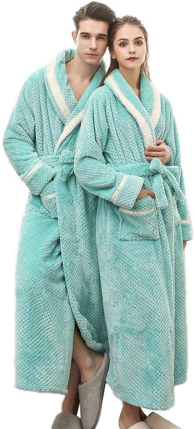 POLP Albornoz Mujer Hombre Unisex camisón Largo Abrigo Albornoz Mujer Ducha Bata de Baño Ropa de Dormir Ropa de baño Parejas Batas Albornoz para Mujer Súper Suave Pijamas de una Pieza: Amazon.es: