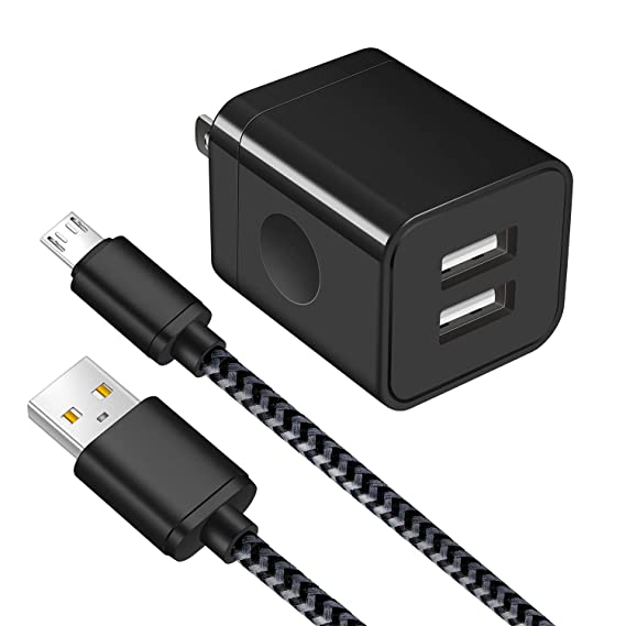 7b4cd91353f24b Android Charger, Power-7 Micro USB Cable Braided 6FT with USB Wall Charger  Plug