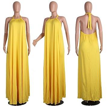 Ropa Un Vestido con un arnés colgado,Yellow S: Amazon.es: Deportes ...