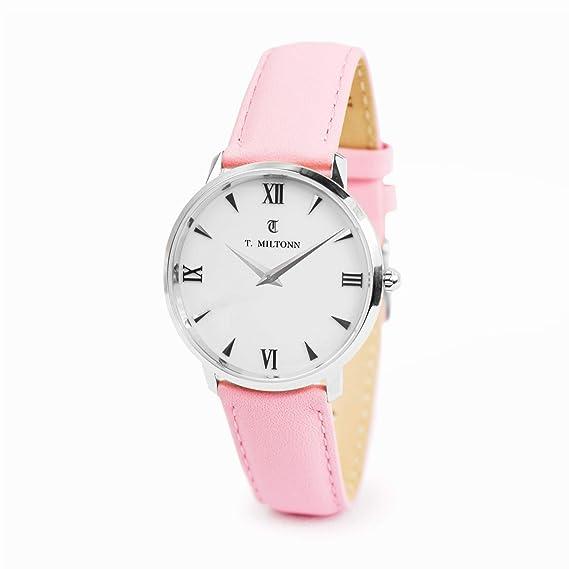 Reloj mujer extra-plate acero pulsera piel rosa