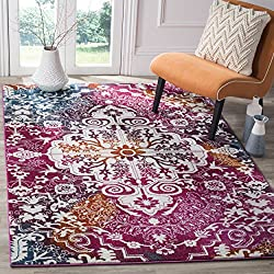 Safavieh Water Color Collection WTC669F Ivory and Fuchsia Area Rug, 8' x 10'