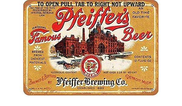 Yohoba Pfeiffers Beer Letrero de Metal de 8 x 12 Pulgadas: Amazon ...