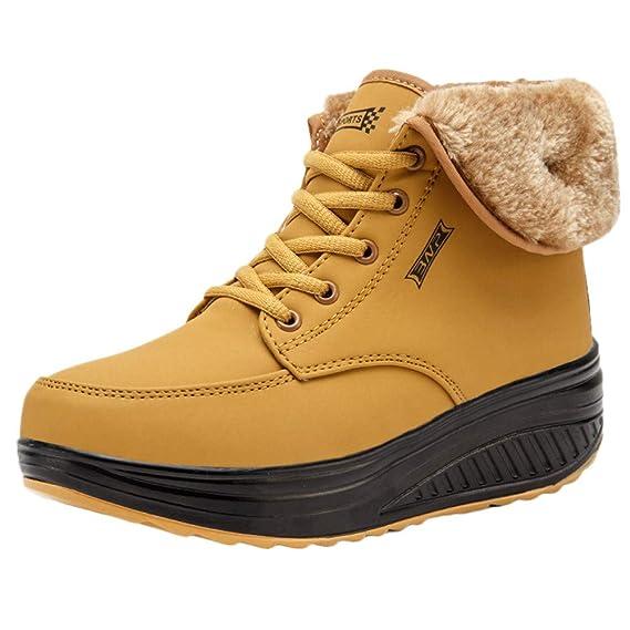 Botas para Mujer Otoño Invierno 2018 ZARLLE Mujer Invierno Impermeable Botas Suave Caliente Forro De Felpa Botines Cuña Zapatos Con Suela Antideslizante ...