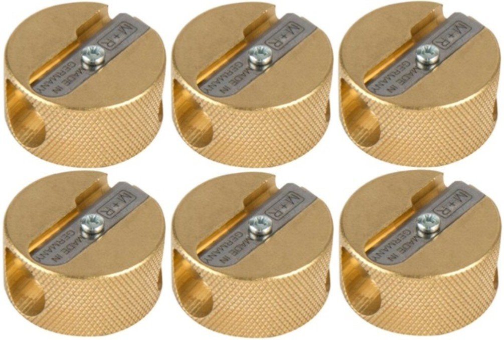 Alvin 9867 Solid Brass Double-Hole Round Pencil Sharpener (Pack of 6), Double-hole Sharpener with a Replaceable Blade, Accepts Large Diameter Pencils up to 5/16'', Blister-Carded