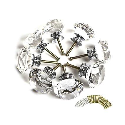 Clairty, 8 pomelli con taglio a diamante, di vetro trasparente, da ...
