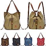 Leijing Women Canvas Casual Multifunctional Microfiber Leather Large Capacity Handbag Shoulder Bags Backpack
