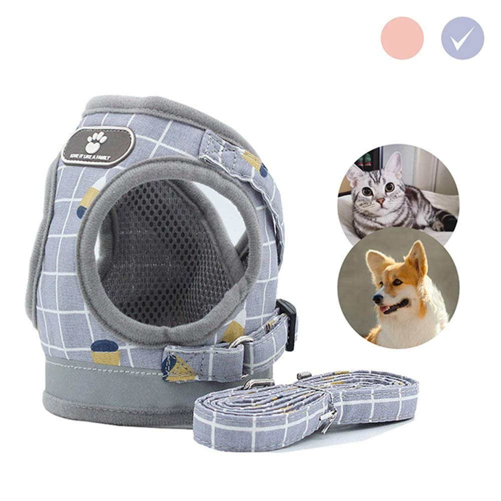 Gaosaili Dog and Cat Harness,Adjustable Reflective Soft Dog Harnesses Vest No Choke for Small Medium Dogs,Separable Traction Rope XS Gray