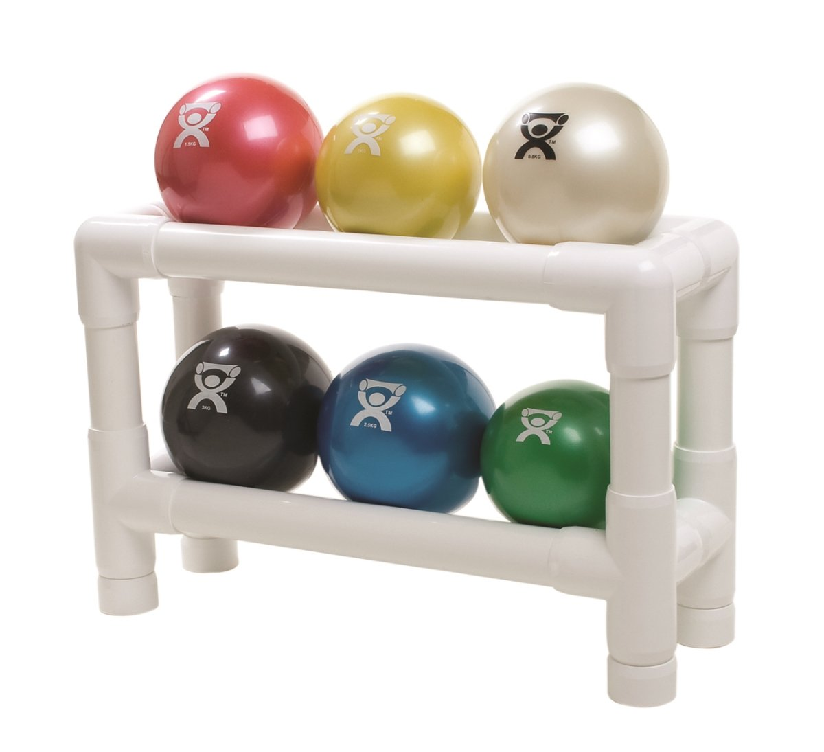 CanDo 10-3188 Wate Ball, Hand Held Size, 6-piece Set, 1 each Tan through Black with 2-Tier Rack