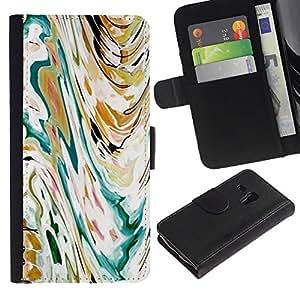 Arte Olas Pintura de la acuarela- la tarjeta de Crédito Slots PU Funda de cuero Monedero caso cubierta de piel ParaSamsung Galaxy S3 MINI i8190 (NOT S3)