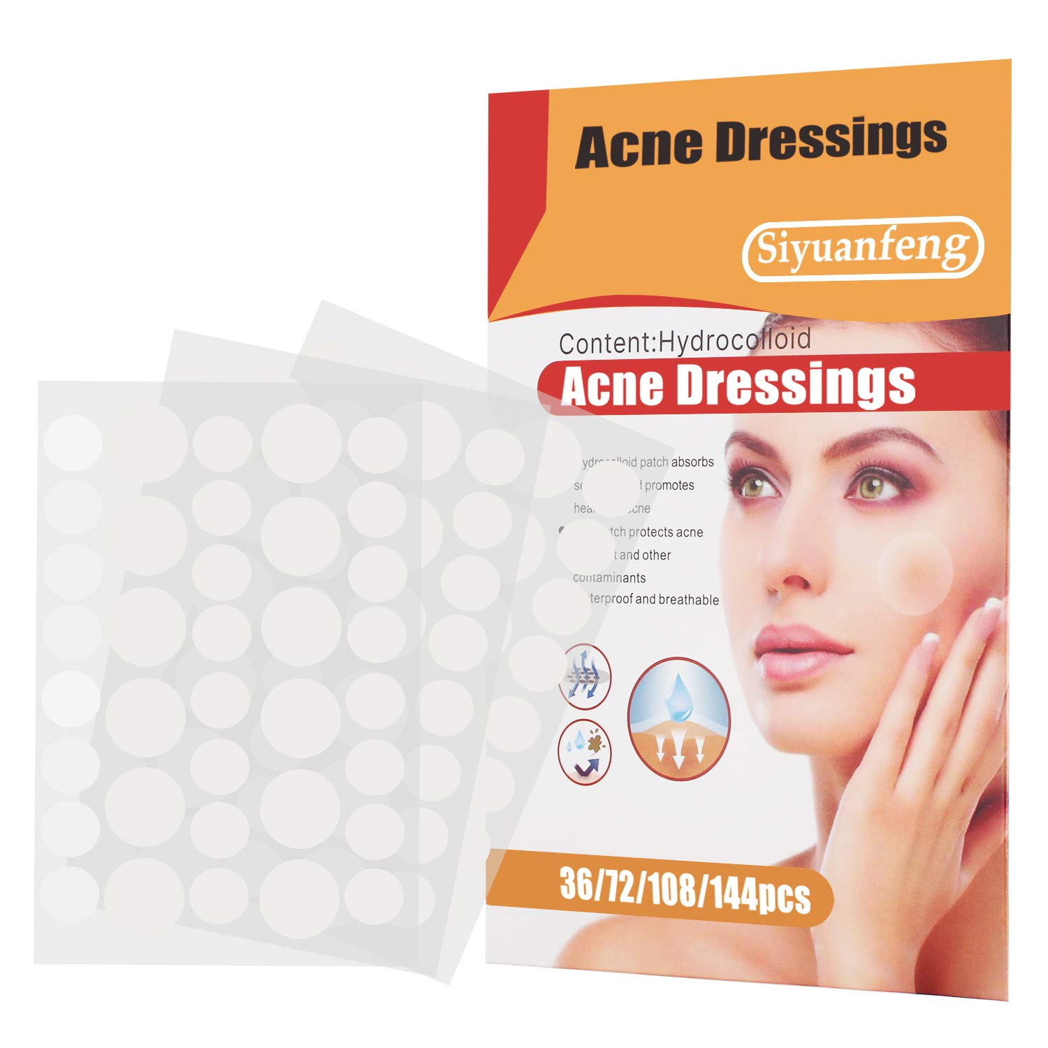 Pimple Acne Patch - Skin Tag Remover, natural Ingredients waterproof hydrocolloid acne Zit patches, acne pimple patch Set 108 patches