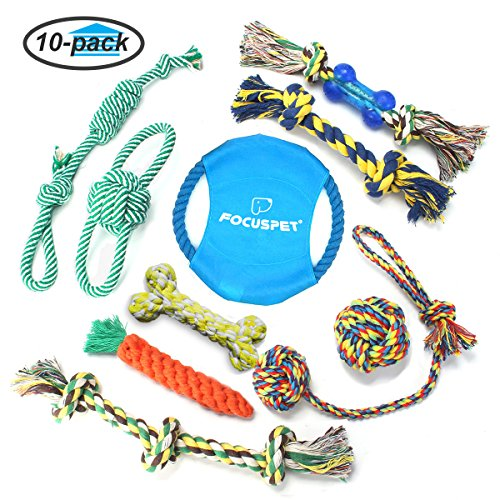 Dog Chew Toys, Focuspet Dog Rope Toys set 10 Pack dog toys for large small big dog Play IQ Training Interactive Knot Dental Health Teeth Cleaning Chewing Biting Durable Cotton Toys