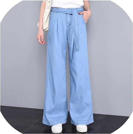 Jeans De Cintura Alta Suavizantes Sueltos Tencel Lyocell De Algodon De Longitud Completa Para Mujer Pantalones De Mama Vaqueros De Verano Delgados Mas Tamano Azul Cielo Azul Sky Blue L Amazon Com Mx Ropa