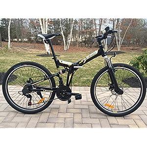 "26"" Alloy Folding bike Mountain Bike with Shimano 21 speed and Disc Brakes BLACK"