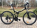 26'' Alloy Folding bike Mountain Bike with Shimano 21 speed and Disc Brakes BLACK