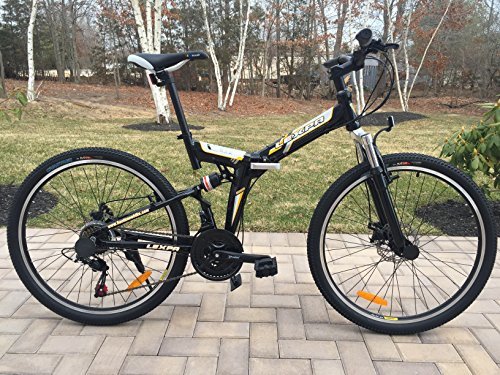 26'' Alloy Folding bike Mountain Bike with Shimano 21 speed and Disc Brakes BLACK by Lexpa