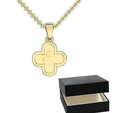 Kette Gravur Kreuz Engel Gold Silber 925 Hochwertig