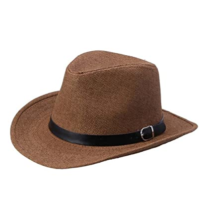 Susenstone Sombrero de vaquero de sombrero verano de paja para hombres (Color  café oscuro) e62fc63c291