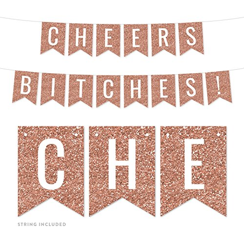 Andaz Press Rose Gold Faux Glitter Background Bridal Shower Bachelorette Party Banner Decorations, Cheers Bitches!, Approx 5-Feet, 1-Set, Champagne Colored Hanging Pennant Decor -