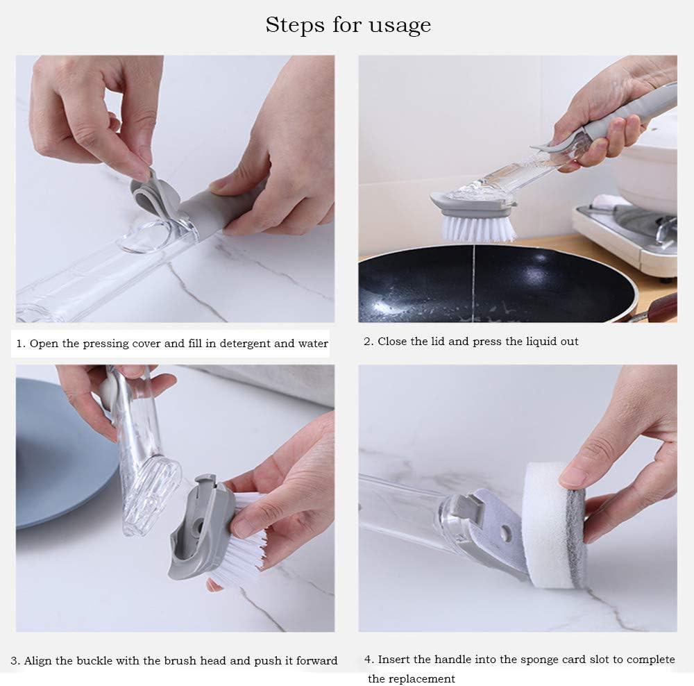 Cepillo para Platos ShawFly cepillos para ba/ño llenado autom/ático de l/íquidos Juego de cepillos de Limpieza para Cocina Cepillo de Mango Largo