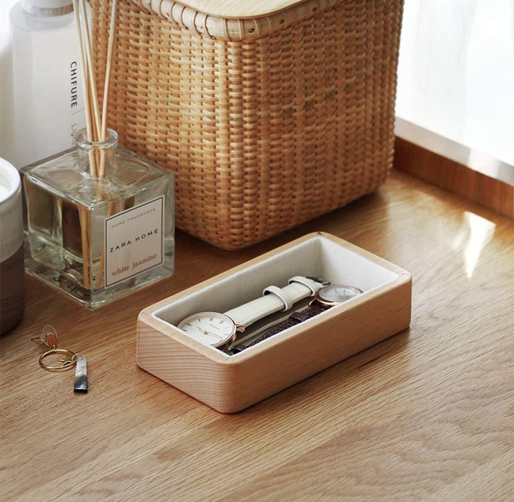 ShouShiHe Caja de joyería de Madera Maciza Pendientes de Anillo de Madera Caja de Almacenamiento pequeña Caja de joyería Caja de Madera de Terciopelo: ...