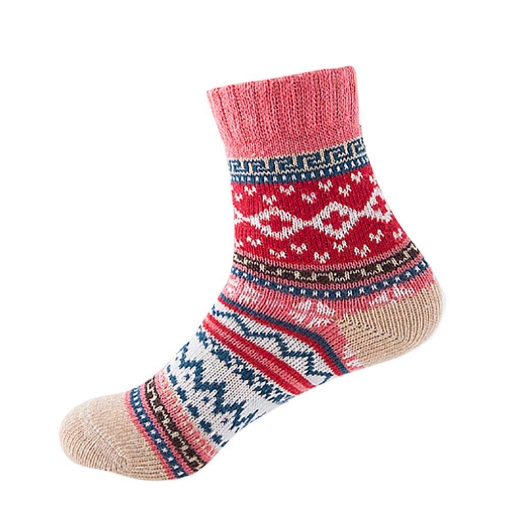 Pumsun Womens Vintage Winter Soft Warm Thick Cold Knit Wool Crew Socks Geometry Print (Red)