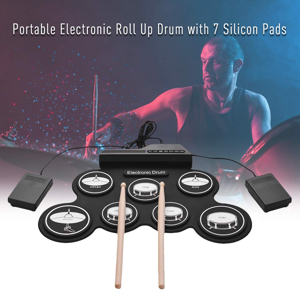 JFGUOYA Electronic Drum Set, Portable Electronic Drum Pad - Built-in Speaker (DC Powered) - Digital Roll-Up Touch 7 Labeled Pads and 2 Foot Pedals, Midi Drum Up to 10H Playing Time, for Kids by JFGUOYA (Image #7)