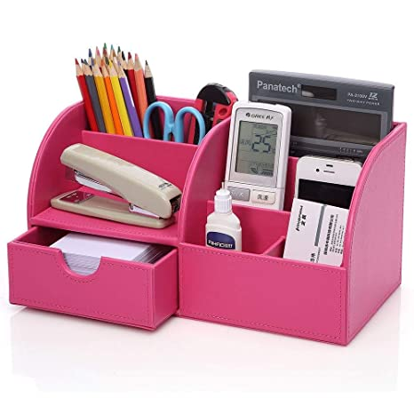 Elegant KINGFOM PU Leather Office Desk Organizer, 7 Compartments + Drawer Business  Card/Pen/