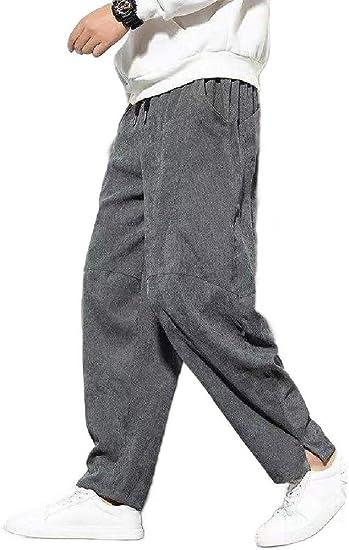 Tootess Men's Oversized Long Pants Chinese Style Elastic Waist Wide Leg Pants