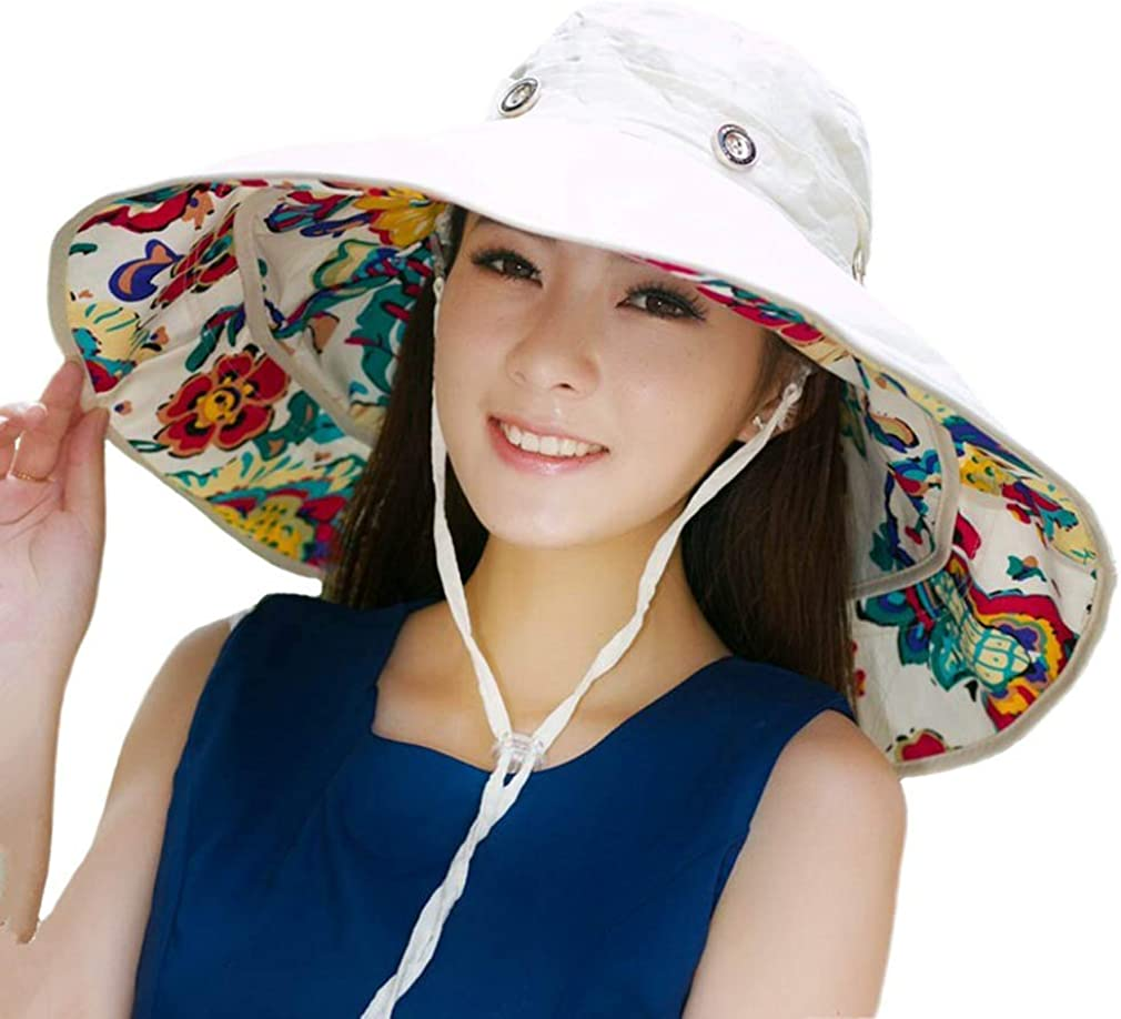 Packable Extra Large Brim Floppy Sun Hat Reversible UPF 50+ Beach Sun Bucket Hat Beige at  Women's Clothing store