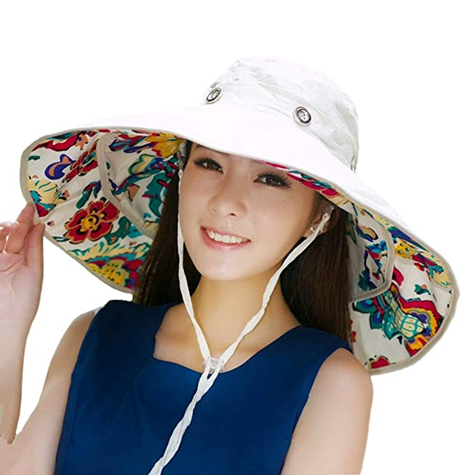 dae79107cfce83 iHomey Packable Extra Large Brim Floppy Sun Hat Reversible UPF 50+ Beach Sun  Bucket Hat