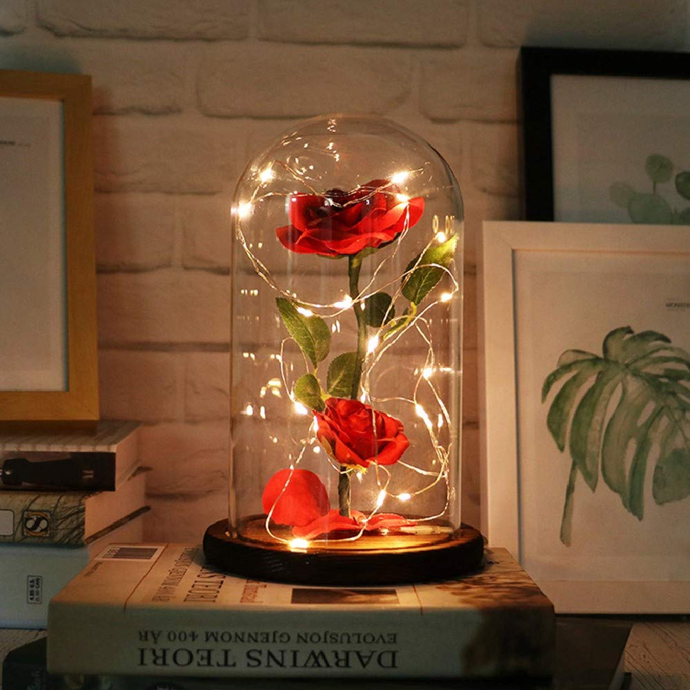 KOBWA Beauty and the Beast Enchanted Rose, Elegant Glass Dome with LED Lights Pine Base, Magic Gifts Home Decor for Holiday Party Wedding Anniversary