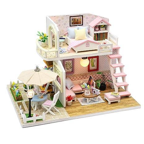 Amazoncom Wolfbush Diy Dollhouse Miniature Kit Wooden
