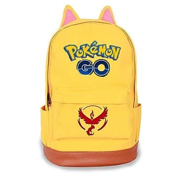 Pokemon Go Mochila Escolar Hombro Mochila Lienzo Bolsas De Viaje Para Mujeres Hombres Niñas Niños azul amarillo: Amazon.es: Oficina y papelería