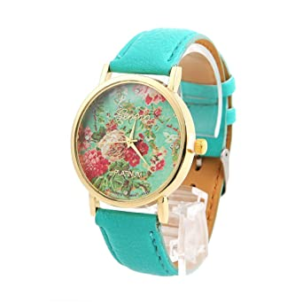 SODIAL(R) Fashion Faux Leather Rose Flower Watch Mint Green