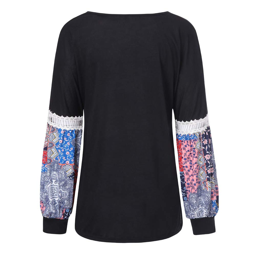 Londony /♥‿/♥ Clearance Sales,Peasant Shirt for Women Ethnic Style Printed Tunic Top Long Sleeve V Neck Loose Blouse