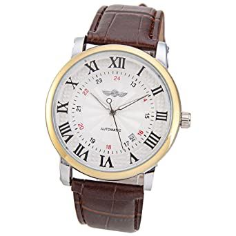Winner Brown Leather Roman Arabic Numerals Display Auto Mechanical Watches for Men Gift