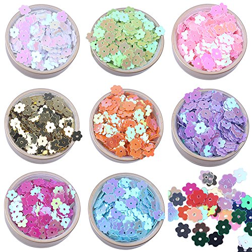 (6mm Colorful Iridescent Gold Pink Purple White Yellow Green Flower Flat Loose Sequins Paillettes ...)