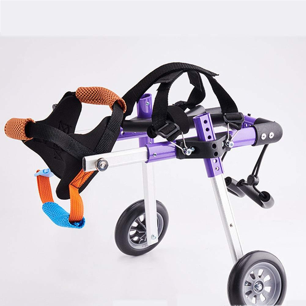ELEAMO Adjustable Pet Dog Hind Leg Rehabilitation Wheelchair 2 Wheel Dog Wheelchair Stroller Aviation Aluminum Alloy Portable Shock Absorber Suitable for Small Disabled Dog Wheel,S by ELEAMO