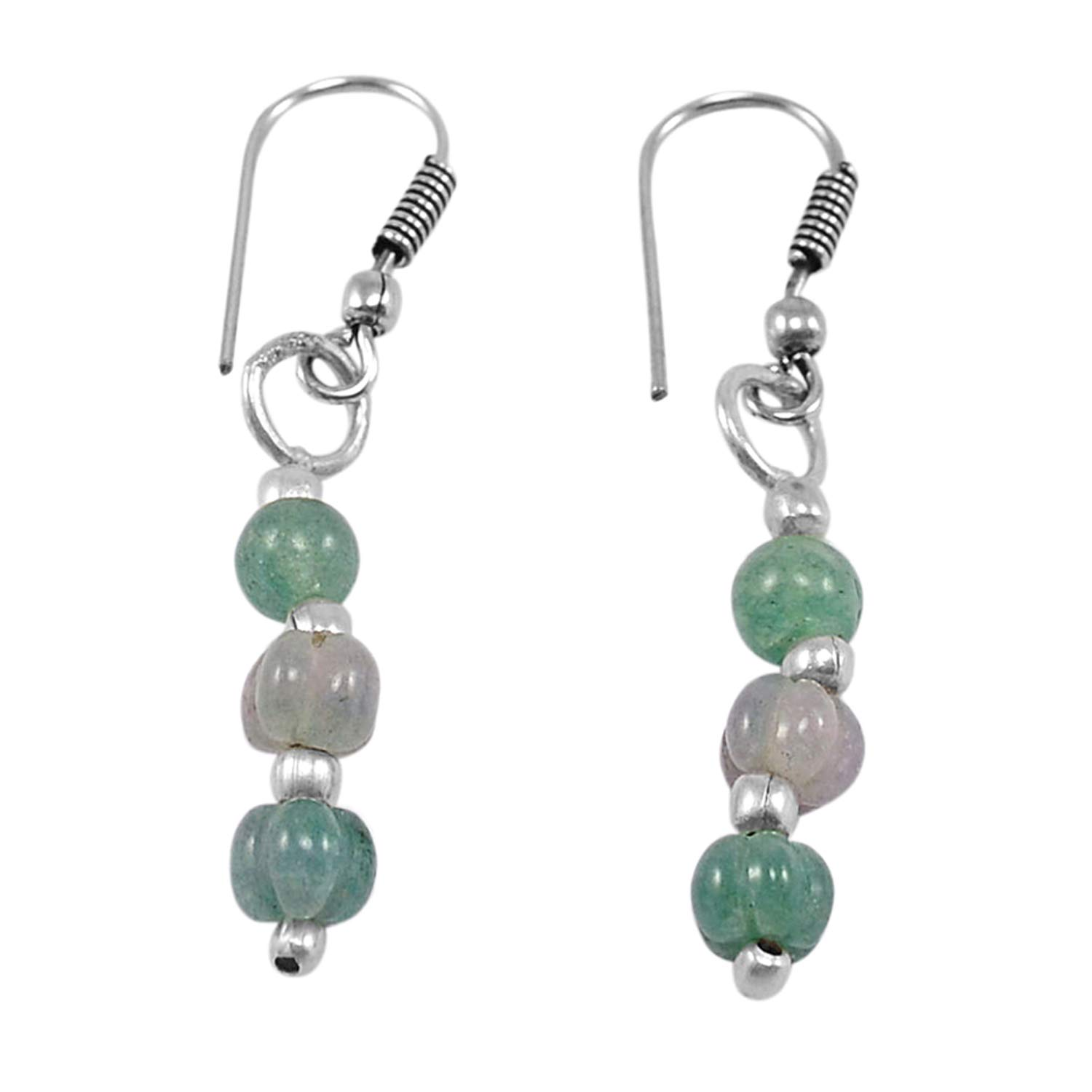 Saamarth Impex Green Jade 925 Silver Plated Dangle Earring PG-130739