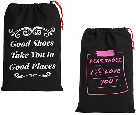 Set of 4 Earthwise Shoe Travel Storage Bags 100/% Cotton with Drawstring Closure For Women with Cute Sayings Perfect for Travel Made in the USA