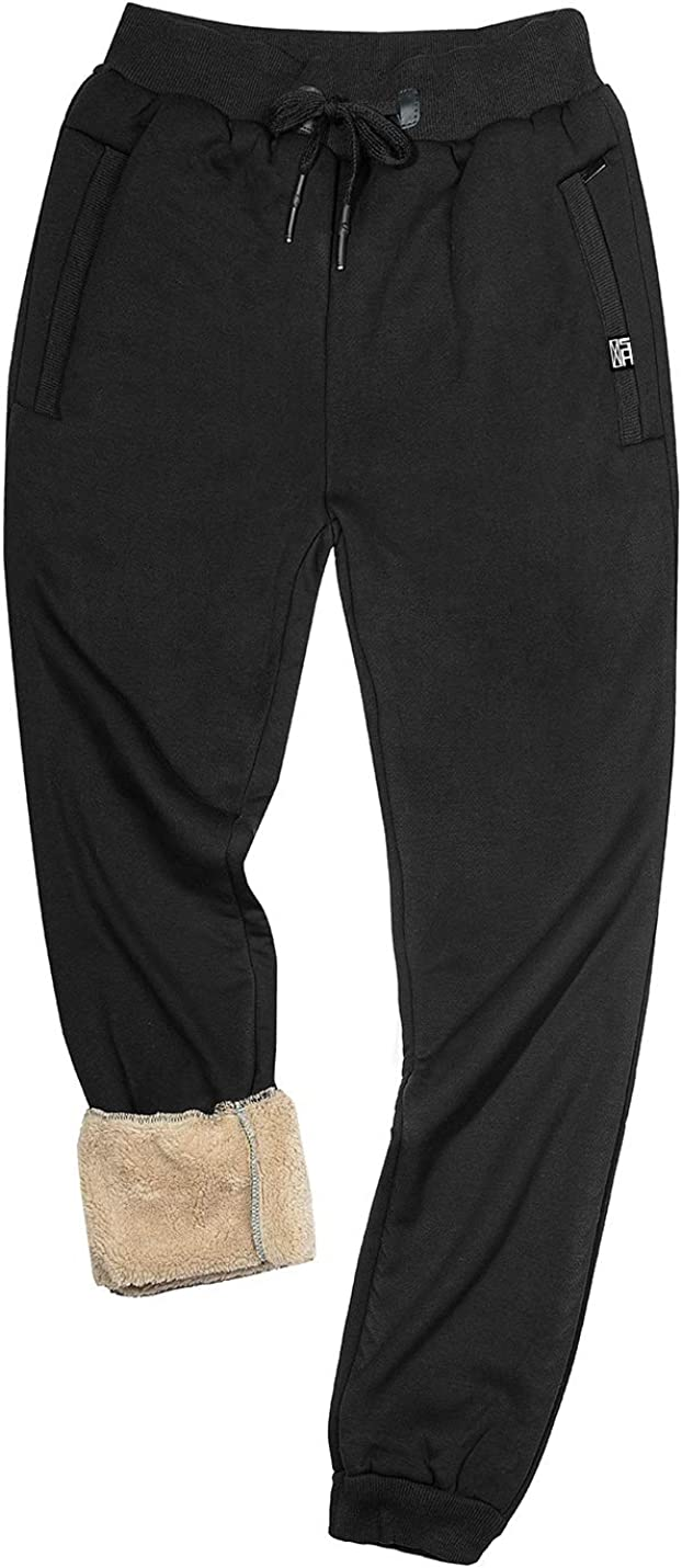 Gihuo Men's Sherpa Lined Athletic Sweatpants Winter Warm Track Pants