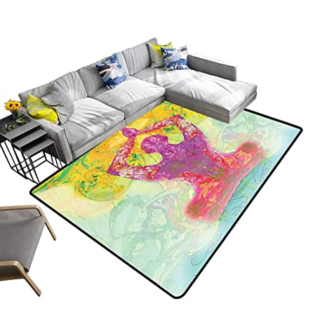 Amazon.com: Modern Abstract Area Rug Men in Meditation in ...