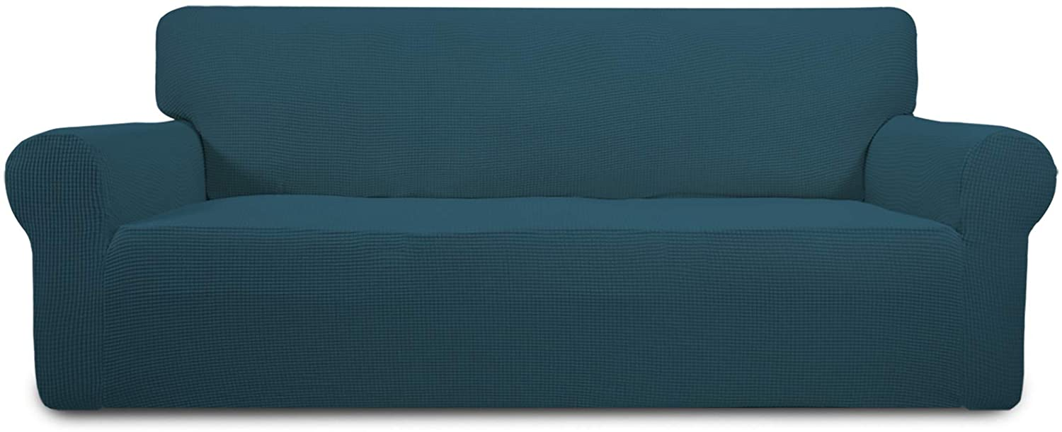Easy-Going Stretch Sofa Slipcover 1-Piece Couch Sofa Cover Furniture Protector Soft with Elastic Bottom for Kids, Spandex Jacquard Fabric Small Checks(Sofa,Deep Teal)
