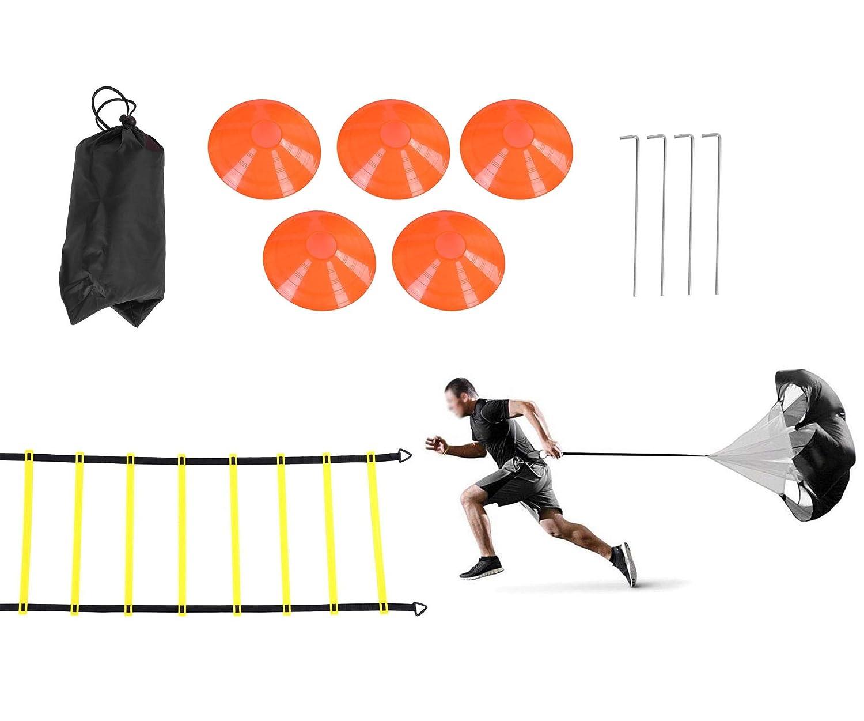 Rehomy Ensemble dentra/înement de Vitesse et dagilit/é Comprenant 1 Parachute de r/ésistance et Une /échelle dagilit/é de 6m,4 piquets en Acier,5 c/ônes /à disques Aide /à lentra/înement de Football