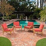 Preston Outdoor Wood Patio Furniture Club Chairs