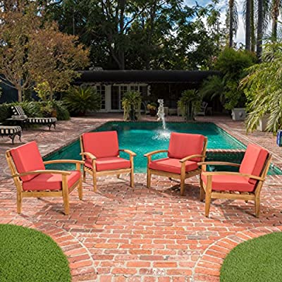 Preston Outdoor Wood Patio Furniture Club Chairs