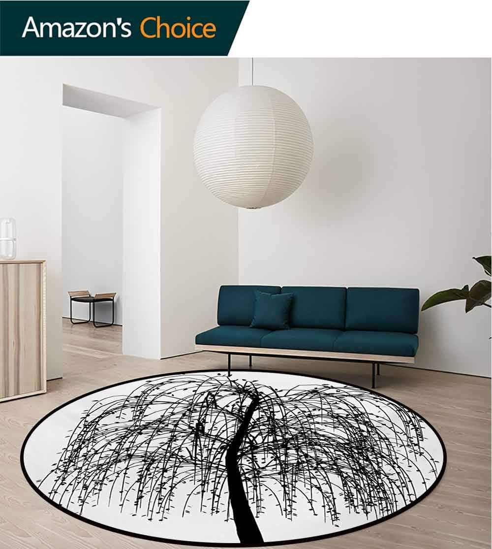 RUGSMAT Black and White Rug Round Home Decor Area Rugs,Monochrome Barren Tree Design Leafless Branches Autumn Themed Nature Image Non-Skid Bath Mat Living Room/Bedroom Carpet,Diameter-51 Inch