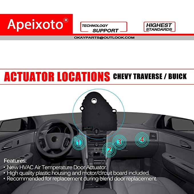 Rear AC Actuator Controls Temperature Mode Door Of HVAC System For Buick Enclave Chevy Traverse GMC Acadia Saturn Outlook OKAYPARTS OK141A